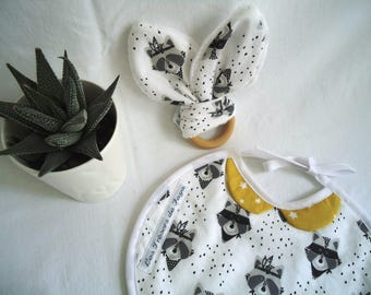 Peter Pan collar baby bib and rattle teething ring, Indian and mustard yellow raccoons / birth boy or girl gift