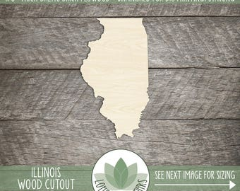 Illinois, Unfinished Wood Illinois Laser Cut Shape, DIY Craft Supply, Many Size Options