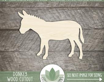 Donkey Wood Cut Shape, Unfinished Wood Donkey or Burro Laser Cut Shape, DIY Craft Supply, Many Size Options