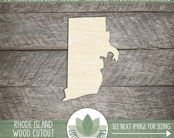 Wood Rhode Island State Laser Cut Shape, DIY Craft Supply, Home Decor Project, Many Size Options, USA Wood State Shapes