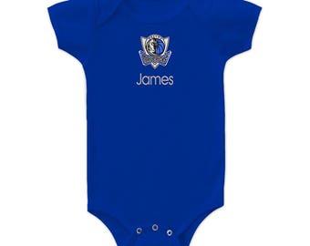 Personalized Dallas Mavericks Baby Bodysuit Royal Blue