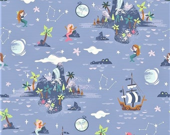"Riley Blake  By Jill Howarth   ""Neverland -  Island""    Periwinkle   Cotton Fabric"