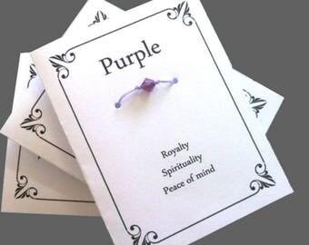 Purple Wish Bracelet, Card And Bracelet, Friendship Bracelet, Message Card, Make A Wish, Lucky Bracelet, Friends Jewelry, Purple Bracelet