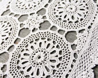 Vintage Crochet Doily, handmade ecru cotton doily, rectangular doily, crochet table mat, vintage doilies, vintage lace