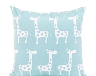 SALE ENDS SOON Canal Blue Giraffe Print Pillowcase, Baby Blue Pillow Cover, Light Blue Nursery Decor, Blue and White Baby's Room Decor, Soft