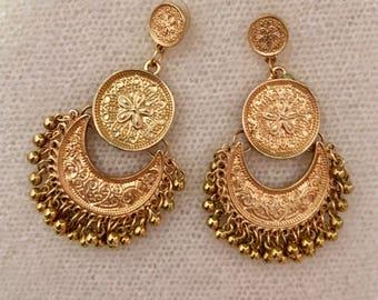 Boho Gipsy Ethnic Pendants / Golden Dangle Earrings