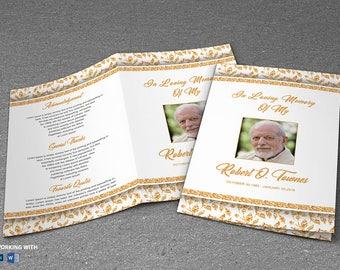 Golden Funeral Program Template   Editable MS Word Template   INSTANT  DOWNLOAD  Printable Funeral Program Templates