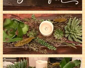 Grateful/thankful Artificial Succulent Planter