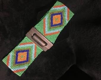 Green beaded wide waist belt