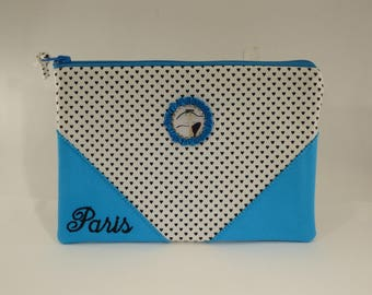 """la parisienne Kiraz"" makeup bag / / paris / / kawaii / / blue / / white"