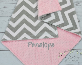 Baby Blanket Personalized Chevron Grey-Chevron baby minky blanket-Gray Chevron Personalized Baby Blanket-Chevron Minky Baby Blanket