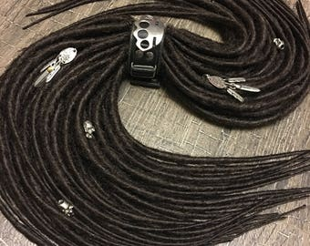 dark brown (color 4) dreads x10 or FULL SET single or Double Ended Synthetic Dreadlocks Dreads Fall Hair Extensions