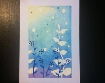 Handmade, handpainted, floral, blank greetings card