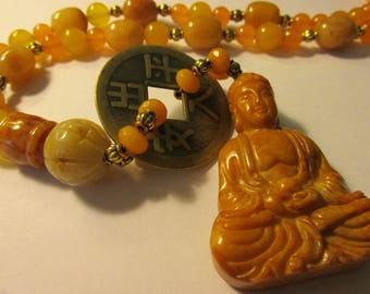 """Carved Jade Buddha Pendant with Jade-Gemstone-Old Chinese Coin Necklace, 20"""""""
