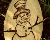 Snowman Wood burned Chris...