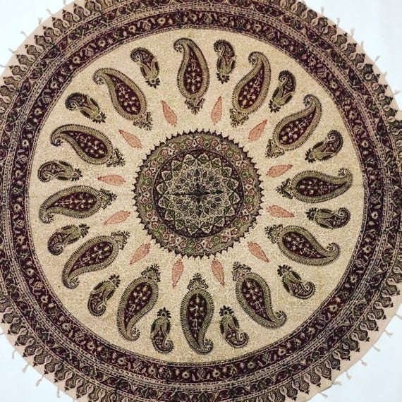 "Traditional 60"" inches round table-cloth , hand block printed cotton tapestry , natural dyes with tassels , round mandala tablecloth"