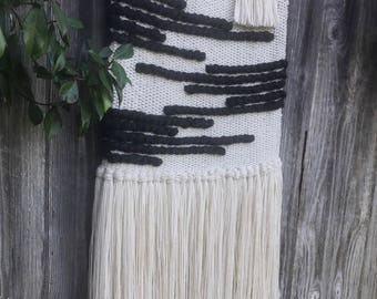 XL Black and White Handwoven Wall Hanging