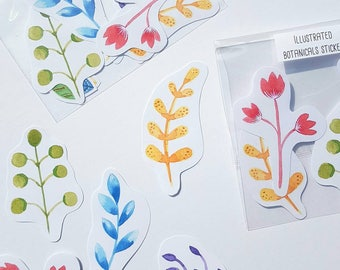 Illustrated flower stickers - Botanical stickers - Journal stickers. Bujo stickers -  Diary  - Bohemian - Scandi stickers - rainbow stickers