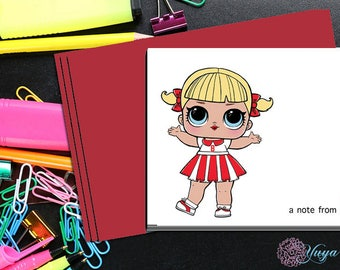 LOL Surprise Doll Cheer Captain Thank You Cards / LOL Girl note cards /LOL Girl Stationery Set / Set of 12
