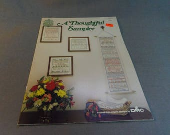Counted Cross Stitch Patterns, A Thoughtful Sampler, Gloria & Pat Leaflet 22, 1988 Home Decor, Samplers