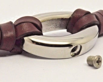 Cremation Urn Bracelet - Braided Brown Leather Keepsake Bangle - Holds Ashes Fur Sand etc - Engraving/Personalised/Bespoke Unique Vial