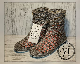 Womens boots/ Summer crochet boots/ Hand knitted for adult/ Crocheted Summer Boots/ Made to Order/ Women Fashion Boots/ Color silver/ Boho