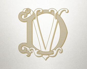 Custom Wedding Monogram - DV VD - Wedding Monogram - Vintage