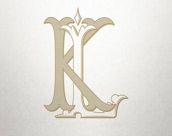 Interlocking Monogram Design - KL LK - Monogram Design - Vintage