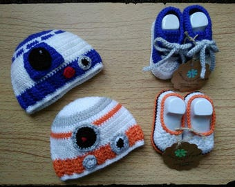 STAR WARS Bb8 & R2d2 (inspired) Collection. Hat and matching baby shoes
