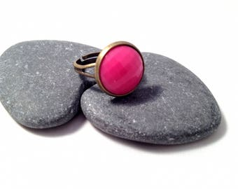 Faceted pink - Bronze Ring