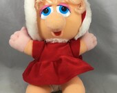 Vintage Christmas Muppet Babies Miss Piggy Stuffed Animal