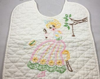 Vintage Hand Embroidered Little Miss Muffet Nursery Rhyme Quilted Bib