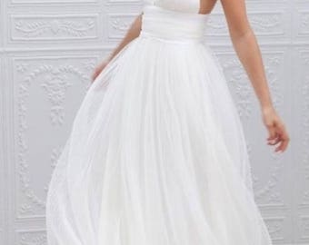 Tulle wedding dress etsy sale 2 beach wedding dress white satin tulle wedding dress white wedding gown sciox Choice Image