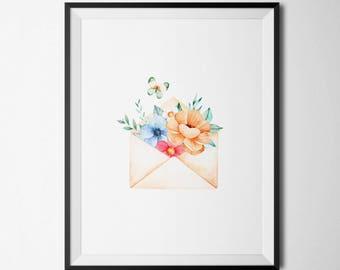 Floral Envelope Printable Floral Letter Envolope Inspirational Wall Art Positive Inspiration floral Quote Prints floral letter Mail print