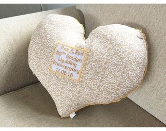 Anniversary Cushion,Cotton anniversary cushion,Wedding gift,Newlywed gift, Personalized cushion,Personalised gift, Anniversary gift.