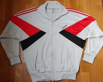 ADIDAS track jacket, vintage full zip hip hop jacket of 90s hip-hop clothing, 1990s gangsta rap, old school gray windbreaker, size XL D8