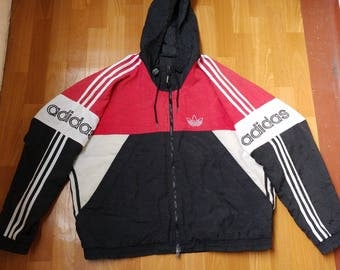 ADIDAS jacket, red vintage full zip hip hop windbreaker of 90s hip-hop clothing, old school 1990s gangsta rap, size L Large D6