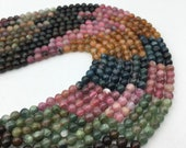 Nice Watermelon Tourmaline Gemstone Smooth Round Loose Beads 4mm/5mm/6mm/7mm Approx 15.5 Inches per Strand. R-S-TOU-0335