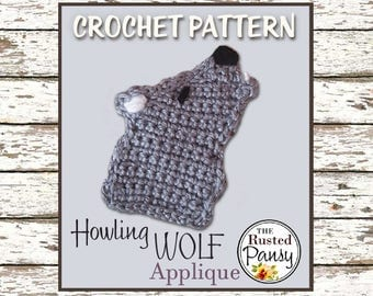 Crochet PATTERN, Applique Howling Wolf, Instant Download