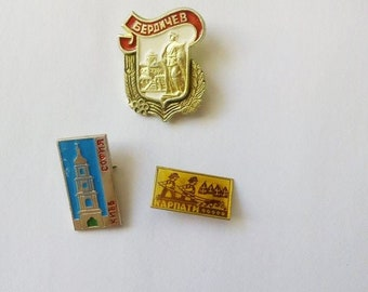 Soviet pin badges Soviet city badges Ukrainian city pin Town Kiev pin Soviet collectible Gift for collector Carpathians pins Made in USSR