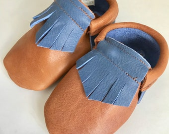 Brown and Blue  Genuine Leather Baby Moccasins - Toddler Moccasins -Soft Soled Shoes- Infant Shoes- Baby Shoes- Baby Shoes- baby shower