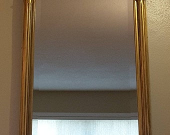 Vintage Carolina Mirror Company Antique Rectangular Hanging Hollywood Regency French Rocco Style Gold Rose Mirror