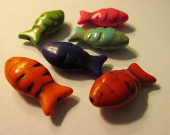 Carved Rainbow-Colored Magnesite Fish Beads, 24mm, Set of 6 assorted