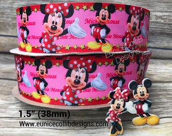 """1.5"""" minnie and micky mouse inspired ribbon"""
