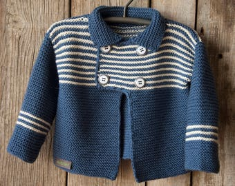 Blue, hand-knitted baby jacket 80/86