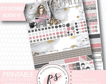 Winter Apres Ski December Monthly View Kit Printable Planner Stickers (for use with Erin Condren) | JPG/PDF/Silhouette Compatible Cut File