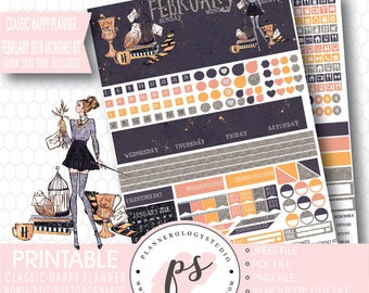 Off to Hogwarts February 2018 Printable Monthly Kit (Light & Dark Skin Tone) (for Classic Happy Planner) |JPG/PDF/Silhouette File