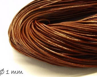 5 m leather Strap brown, Ø 1 mm