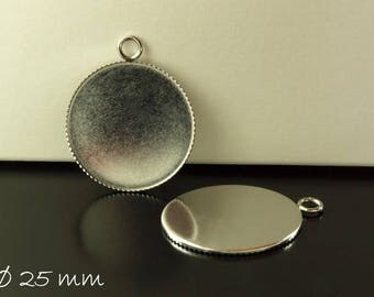 Stainless steel cabochon version 25 mm, silver