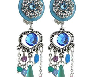 Earring clip turquoise Palermo (made in France)